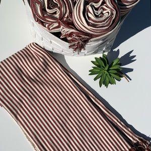 IKEA Throw White/Red Stripes NWT